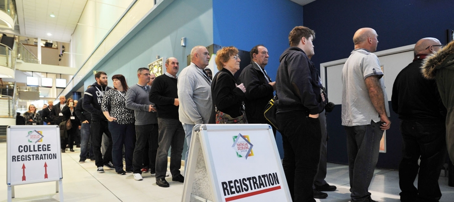 National Painting and Decorating Show - queue of people at registration at the Ricoh Arena Coventry - get your free tickets