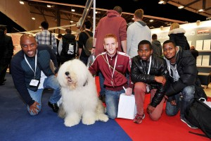 PD Show - visitors sitting with Dulux dog
